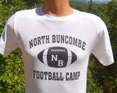 vintage 80s t-shirt north buncombe FOOTBALL CAMP high school Small xs carolina 90s