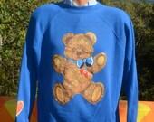 vintage 80's sweatshirt HUG teddy bears hearts applique love glitter sweater Large XL raglan