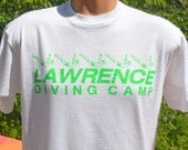 vintage 80s t-shirt lawrence DIVING camp diver swimming olympic neon tee Large Medium dive