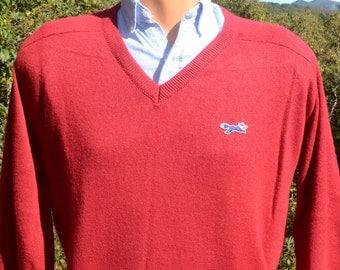 70s vintage golf sweater v-neck FOX jc penney jumper Medium Large preppy tennis maroon 80s