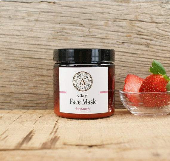 Organic Strawberry Face Mask   All Natural Facial, Kaolin Clay Mask, Natural Skincare, Organic Strawberry Powder   Strawberry Face Mask