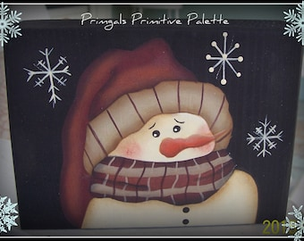 Primitive Wood Snowman Shelf Sitter Block Winter Snowflake Holiday Home Decor Decoration