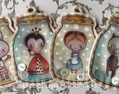 Stitched alice in the wonderland characters in a jar  brooch, pendant and keychain