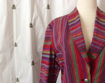 NOW ON SALE! Vintage Boho Capezio Colorful Peruvian Stripe Blazer, Tailored Jacket, Boho, Size Large