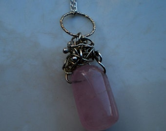 Rose Quartz Nugget Necklace with Sterling Silver Tendrils and Sterling Silver Chain