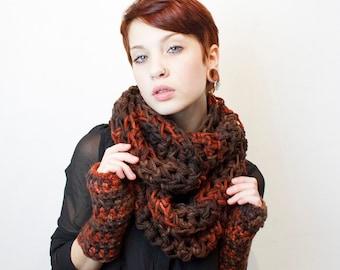 SALE Soft and Chunky Cowl scarf vegan hookedwear pumpkin black espresso brown