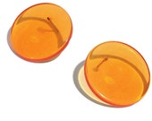 Orange Transparent Flat Wafer Buttons Earrings - lucite button post earrings