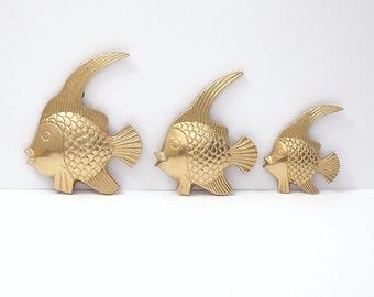 Mid Century Modern Brass Tropical Fish, Set of 3