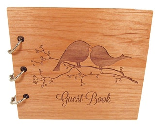 Love Birds Wedding Guest Book - Ready to Ship - Real Wood Covers