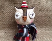 Christmas Owl Folk Art Sculpture in red white Brown and red Ready to ship