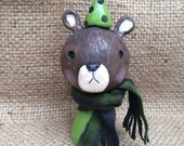 Bear Folk Art Christmas Decoration in Brown and green Ready to ship