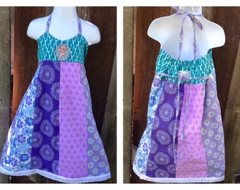 Custom Patchwork Baby Dress, Grateful Dead Bear, Toddler Girl Dress, Teen girls custom made dresses, 12M, 18M, 2T, 3t, 4t, 5, 6