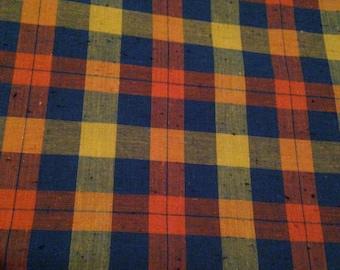 Vintage 1960s Orange Blue Yellow Plaid Print Cotton - 3 Yards -  Fabric Yardage / Cotton Fabric /1960s Fabric /1960s Cotton/60s
