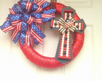 Patriotic Wreath-Americana Wreath-Forth of July Wreath-Front Door Wreath- Red White and Blue Wreath