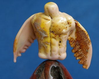 Angel Sculpture Lampwork Glass by Cleo Dunsmore Buchanan 6 Grama Tortoise spiritual passionate fiery manly