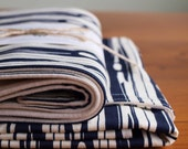 Organic Baby Blanket and Burp Cloth Gift Set in FAUX BOIS DUSK; Navy and Ivory Woodgrain Organic Baby Gift Set by Organic Quilt Company