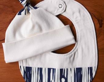 Modern Teething Bib and Baby Hat; Navy Blue, Ivory Woodgrain, Woodland Newborn Baby Cap, Drool Bib Gift Set; Unisex, Eco-Friendly Baby Gift