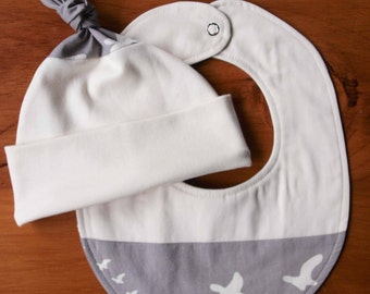 On Sale, Save 25% Organic Baby Hat and Bib Gift Set in FLIGHT PEWTER; Grey and Ivory Geese Flock Newborn Baby Cap and Drool Bib Gift Set