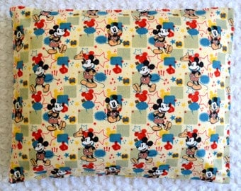 The Perfect Toddler Pillow ... Vintage Mickey Mouse Flannel Off White Blue Red Yellow ... Original Design by Sew Cinnamon