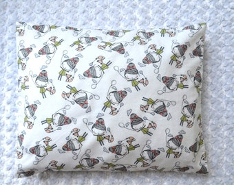 The Perfect Toddler Pillow ... Pencil Sketch Little Girls with Balloon & Fox on White Flannel ... Original Design by Sew Cinnamon