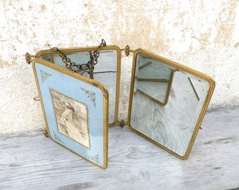 Vintage Antique French 1890 Victorian trifold mirror/ triple mirror / beleved mirror /bronze frame  / Victorian ladys