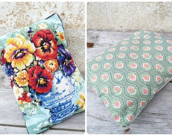 Vintage 1950/50s old Frenchpetit point tapestry pillow Floral