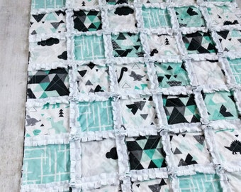 Dinosaur Minky Rag Quilt For Baby/Toddler Boy - Crib Quilt - Stroller/Car Seat Quilt - Turquoise, Black, Gray