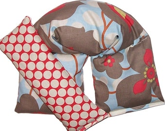 Microwave Heating Pad Spa Set, Eye Pillow, Amy Butler Fabric - Flaxseed Rice - UNSCENTED OR SCENT