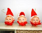 Three Kitschy Elf Head Christmas Ornaments