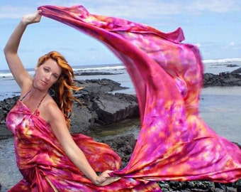 Belly dance costume silk veil blended hand dyed in Hawaii DISCOUNTED