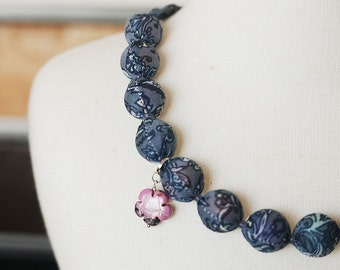 Fabric covered necklace - blue forest with natural rhodochrosite flower bead charm