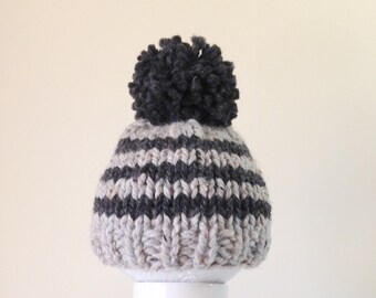 Knit Baby Hat Toddler Bobble Beanie, Pom Pom Baby Hat, Boy hat, Girl hat, Stripes Gray and Charcoal