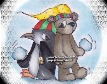 974 Bearly a Snowball Fight Digi Stamp
