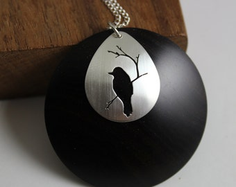 East African Blackwood and sterling silver raven (or East African Blackwood and sterling silver chickadee) - handcut details