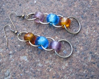 Eco-Friendly Dangle Earrings - Mardi Gras - Brass Rings and Recycled Vintage Glass Pony Beads in Lilac, Sapphire Blue and Honey