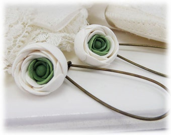 White Ranunculus Drop Earrings - Assorted Earwires, Ranunculus Jewelry, White Flower Earrings, Ranunculus Wedding, Ranunculus Accessory