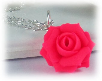Neon Pink Rose Necklace - Fluorescent Pink Jewelry