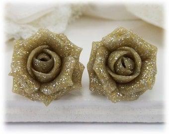 Beige Rose Glitter Earrings Stud or Clip On - Glitter Jewelry