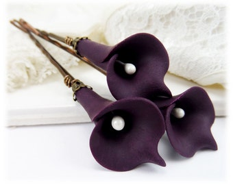 Purple Calla Lily Hair Pins -  Purple Calla Lilies, Purple Flower Hair Pins Wedding, Purple Bridal Hair Flowers