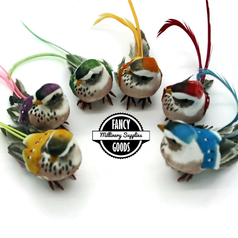Set of 6 artificial bird craft birds mushroom birds fake for Fake birds for crafts