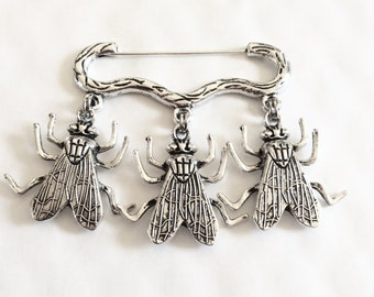 Three flies insect bug charm silver tone brooch / pin