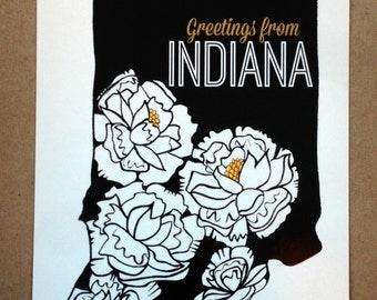 Indiana Peony Postcard (Black/White/Yellow)