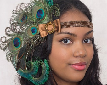 Bronze Nymph Peacock Feather Headband 1920s Flapper