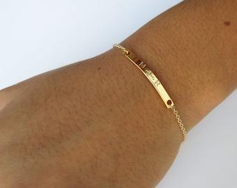 Dainty Bracelet Gold Rose Gold Bracelet Anniversary Gift Bar Bracelet Initial Bracelet Mom Bracelet Hand Stamped Jewelry