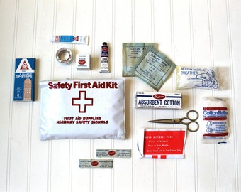 Vintage 1970's First Aid Kit, Safety First Aid Kit, Highway Safety Signals, Broken heart