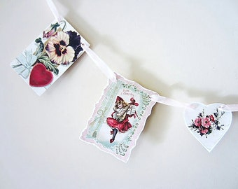 Valentine's Day Garland, Banner or Bunting, Vintage Garland,  Home or Wedding Decor
