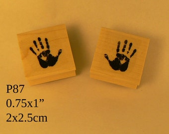 P87 2 little hand prints rubber stamps