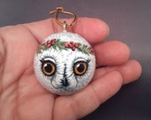 Snowy Owl Ornament Christmas Hanging Ball Handpainted