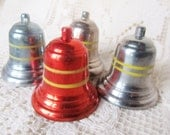 Vintage 1950's Lot OF 4 Christmas Bell Ornaments
