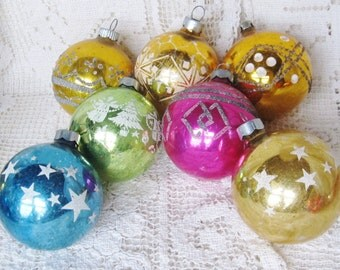 Vintage Lot Of 7 Glittered Shiny Brite, USA, Poland Christmas Ornaments, Ships Worldwide